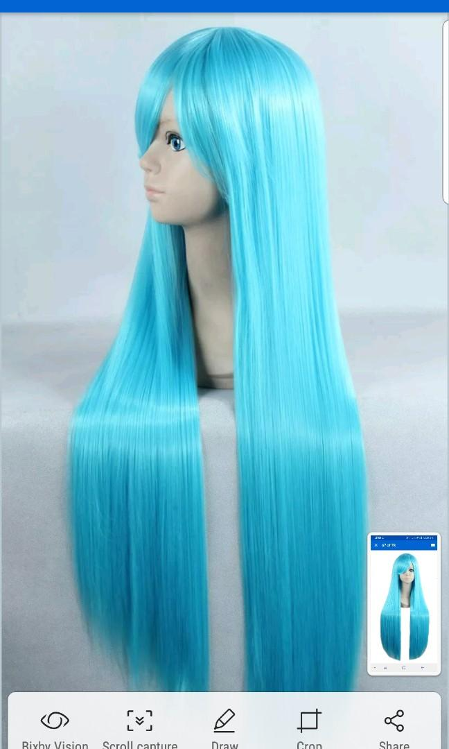 NEW 80CM COSPLAY WIG BLUE STRAIGHT HAIR FESTIVAL PARTY DRESS UP