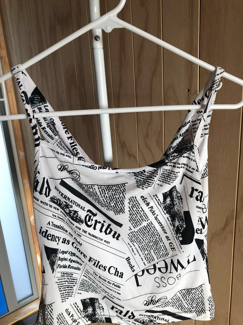 newspaper print,  cowl neck, tank top