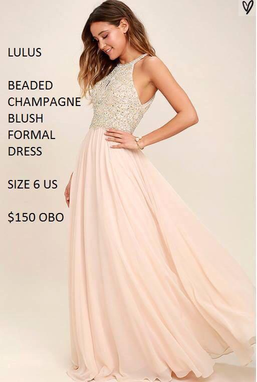Open back Champagne Blush Pink Beaded Prom Evening Dress