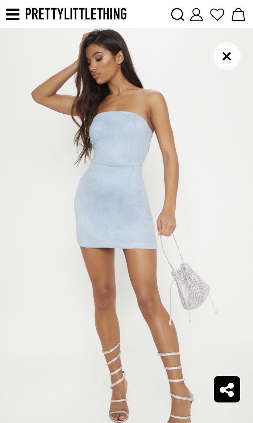 2827059046d PLT Dusty Blue Faux Suede Bandeau Bodycon Dress