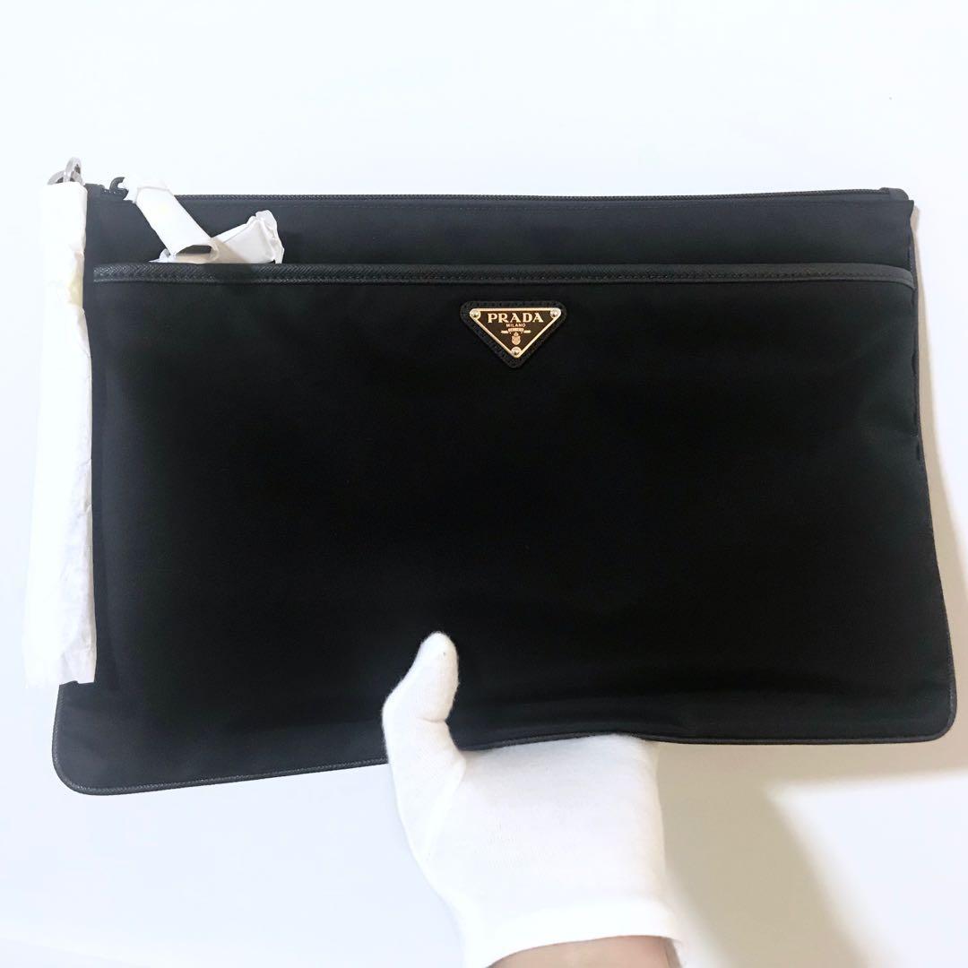 9dc12a3f03a1 PRADA Black Tessuto Nylon Large Clutch Pouch Bag 100% AUTHENTIC+ ...