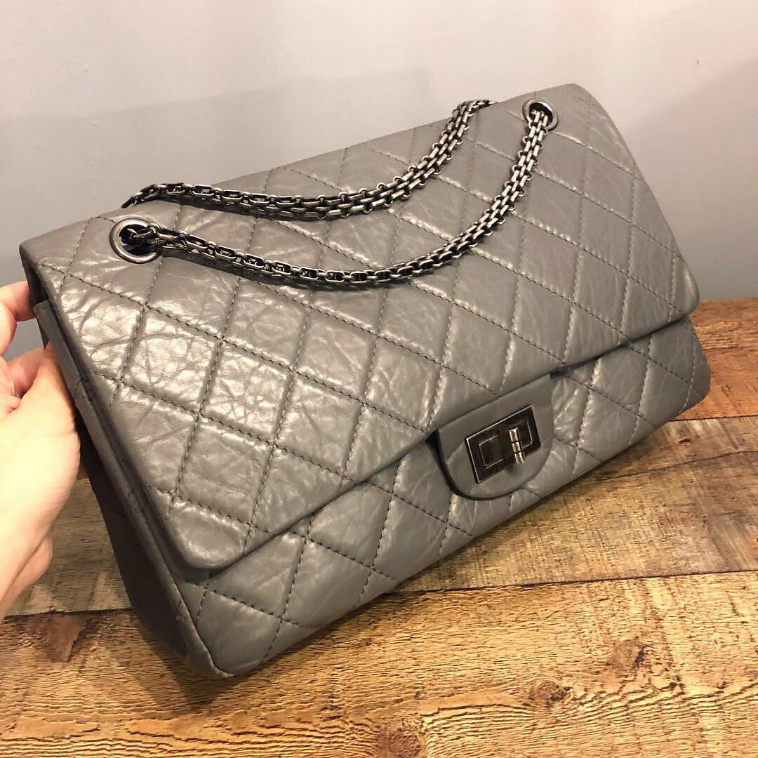 ac3d849c4ef1 RESERVED Authentic Chanel Reissue 2.55 Double Flap Bag w Silver ...