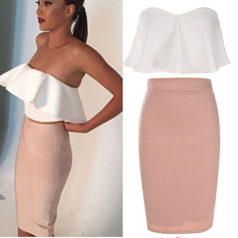 50ef17ec669 Set outfit white tube top and pink bodycon skirt