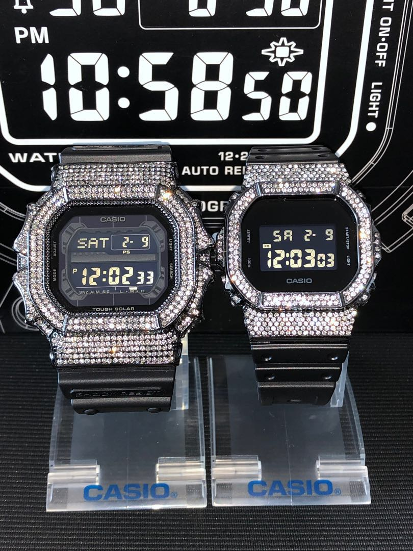eccec21a358 The best looking couple set suitable for this Valentine . Bling bling G- Shock GX56 aka G-Shock king and DW-5600 chrome black with charcoal crystal