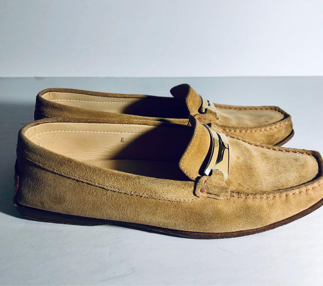 Tods Womens Suede Slip On Driving Loafers Camel, Buckle, Size 36 6.