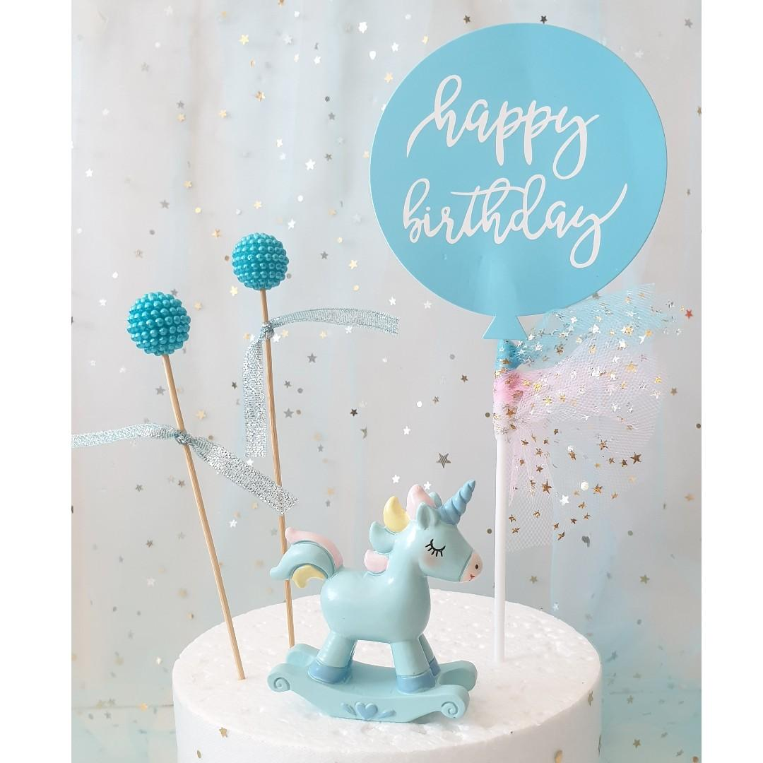 Unicorn Cake Topper with Pearl Balls|Happy Birthday Banner