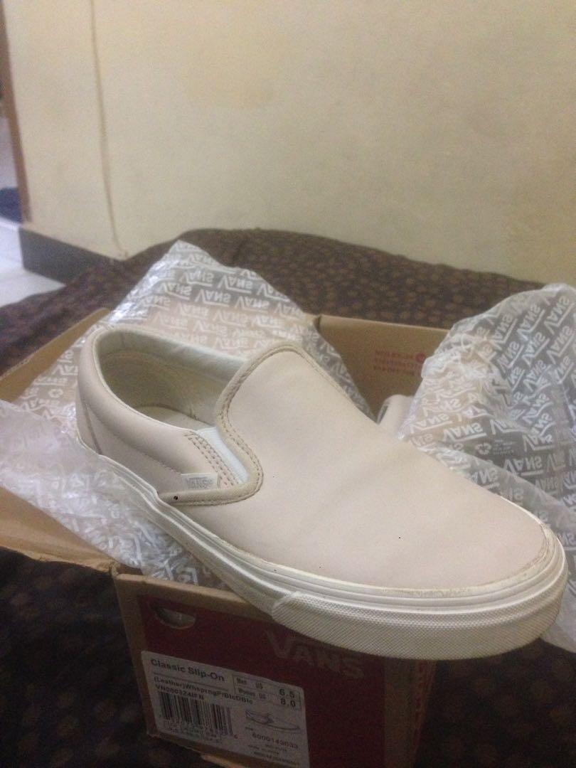 Najnowsza najlepsza cena oficjalny dostawca Vans slip on classic leather ( Salmon pink/white), Men's ...