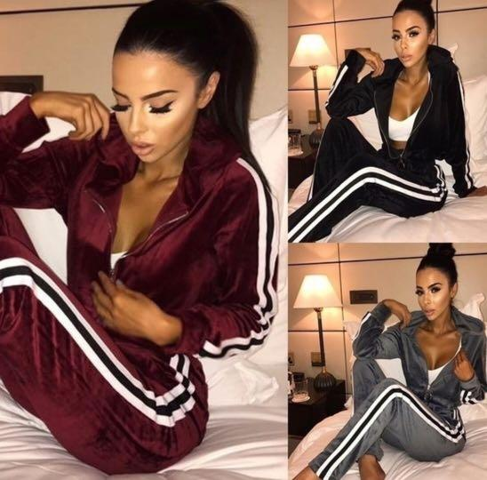 Velvet tracksuit and casual running wear outfit burgundy black and grey