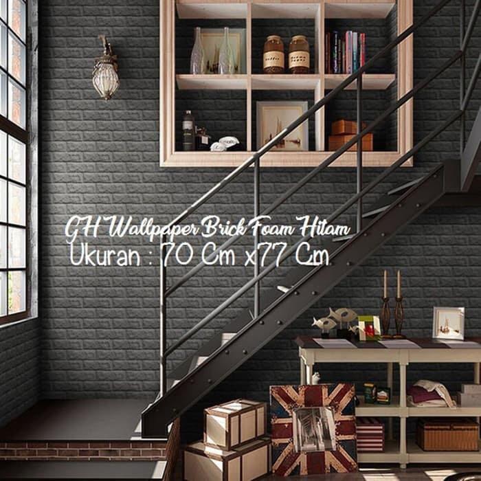 Wallpaper 3D Brick foam hitam- Black Bata, Home u0026 Furniture on