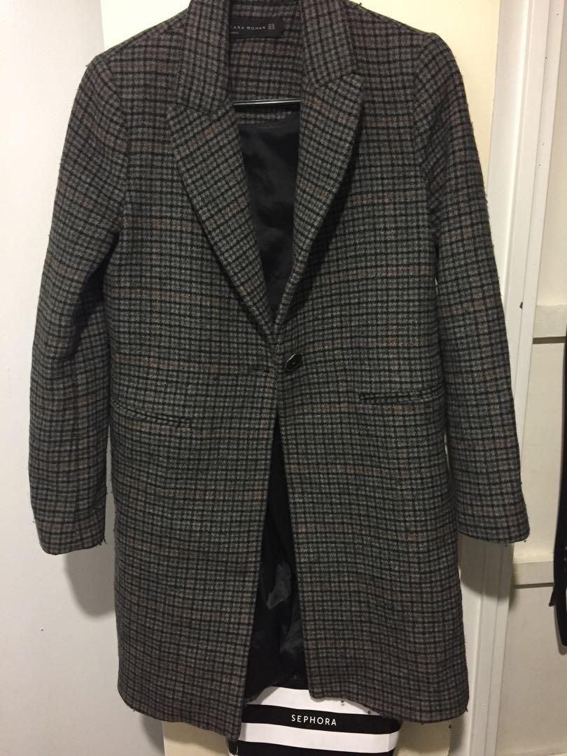 Zara Plaid wool blend coat