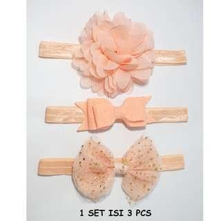 Bando Headband Bayi dan Anak Pita Bunga 1 set isi 3