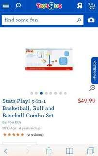 Stats Play! 3-in-1 Basketball, Golf and Baseball Combo Set