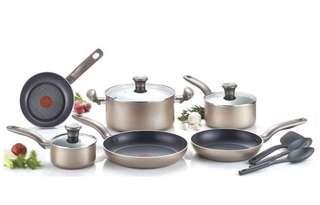 🚚 T-fal Metallics Nonstick Thermo-Spot Heat Indicator Cookware Set, 12-Piece, Bronze