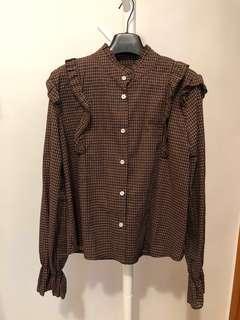 韓國啡色格仔blouse