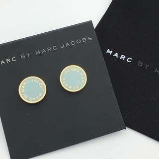 💚現貨💚  Marc by Marc Jacobs Enamel Logo Disco Stud Earrings 灰藍色 耳環