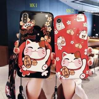 IPHONE CASINGS: CUTE FORTUNE CAT CASE WITH LANYARD