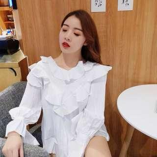 White Blouse top ruffles pretty stylish shirt long sleeves korean style beautiful pleated top elegant
