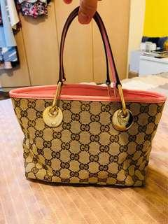 Gucci GG Canvas 120844 GG Canvas Tote Bag Beige, Pink