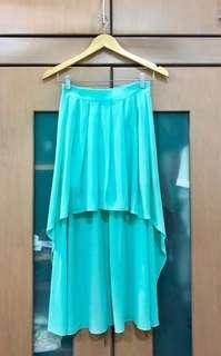 Asymmetrical Chiffon Aqua Skirt (S) #MFEB20