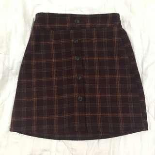 Red Plaid Button Skirt
