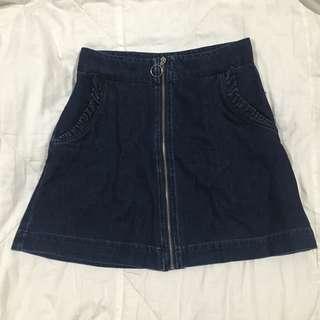 Vera Moda Denim Skirt w/ Frilled Pockets