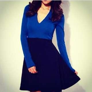 mini dress biru elektrik