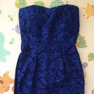 Mini Dress Biru Elektrik Renda