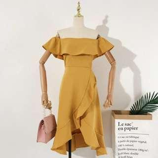 🚚 Yellow/Mustard Off Shoulder Dress