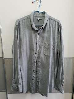 🚚 二手 男裝襯衫 uniqlo L號 灰色襯衫