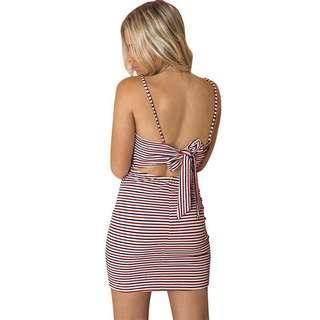 Tie back striped dress