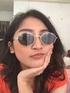 Black Oval Gold Frame Sunglasses #MFEB20