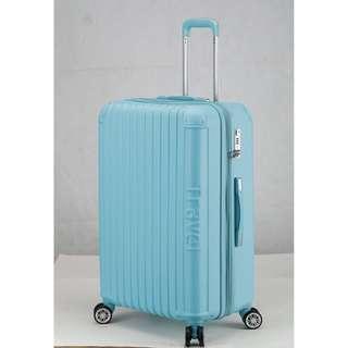 [全新NG庫存福利品出清 ]【Travelhouse】戀夏圓舞曲 28吋平面式箱紋設計可加大行李箱(天空藍)