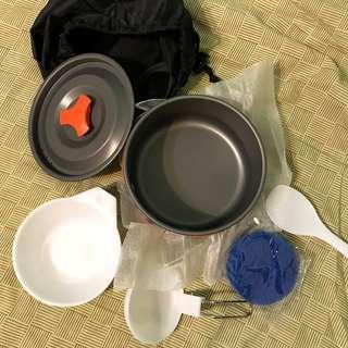 八件式 輕量化 1-2人 戶外露營 炊具 登山 野炊 野餐 煮鍋 餐具