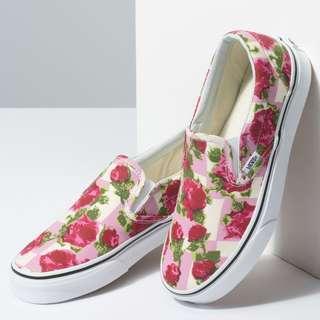 新款預訂!全新未使用 Vans ROMANTIC FLORAL SLIP-ON 粉紅格拼玫瑰花