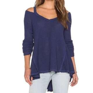 Free People Moonshine V-neck Waffle Knit High Low Bohemian Sweater S New