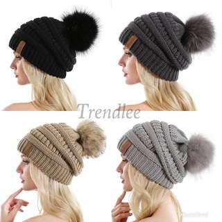 Knit Slouchy Beanie for Women Thick Baggy Hat Faux Fur Pompom Winter Hat
