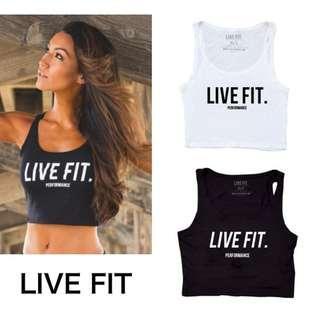 Live Fit LVFT Performance Black Crop Top