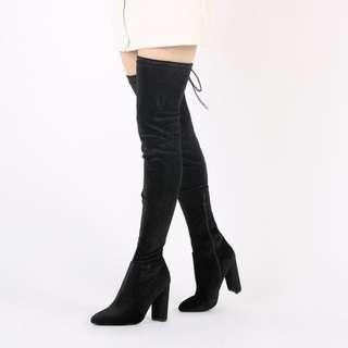 Public Desire Annie Thigh High Black Velvet Boots size 9