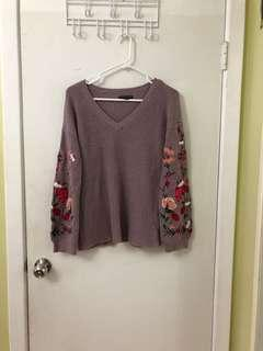 Flower/Floral Embroidery Sweater