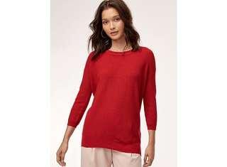 Aritzia Wilfred Red Balzac Knit Sweater size L
