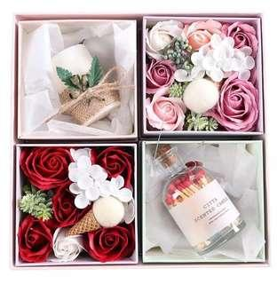 Handcrafted rose made of soap with fragrance candle