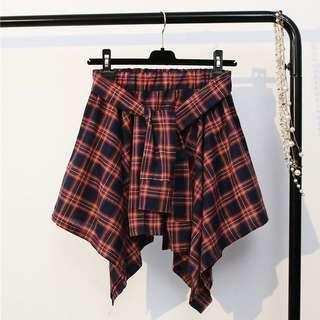 Mock Plaid Mini Skirt