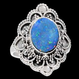 Bali Design - Australian Fire Opal 925 Sterling Silver Ring Jewelry s.6