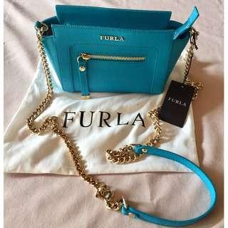 NEW WITH TAGS FURLA Turquoise Blue & Gold Authentic Genuine Crossbody Handbag