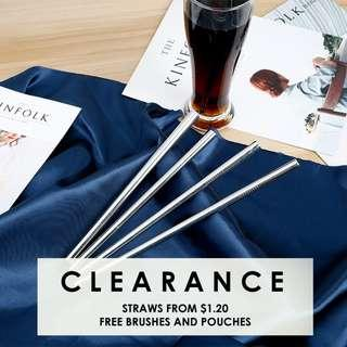CLEARANCE Reusable Stainless Steel Straws