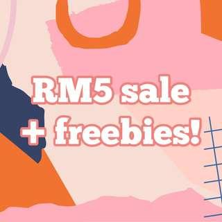 RM 5 Clearance + Freebies!