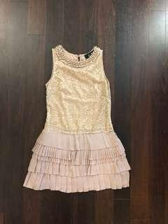 Dusty rose lace dress with beading and pleats