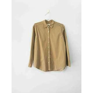 🚚 奶茶色直紋長袖襯衫