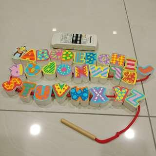 Wooden Lacing Alphabets