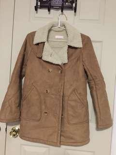 Light brown coat with fur inside